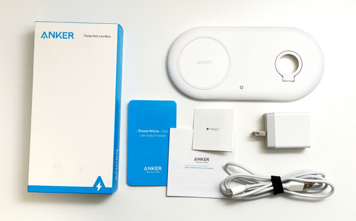 Anker PowerWave+ Pad with Watch Holderの同梱物