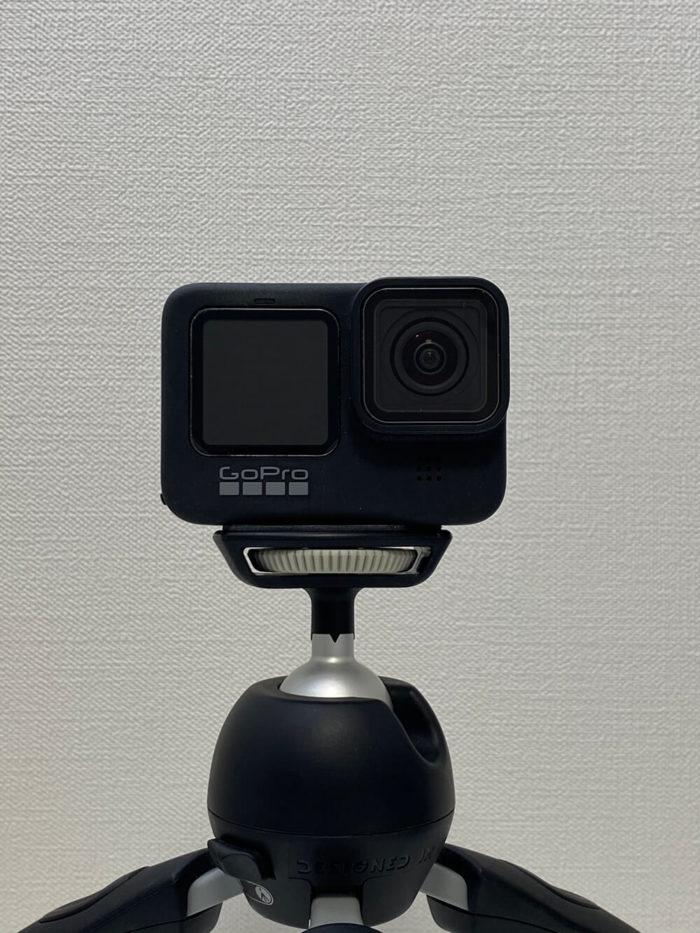 GoProを三脚に直接取り付けた状態